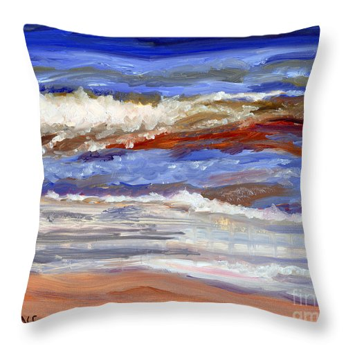 Long Beach Island Throw Pillow featuring the painting One Wave by Pamela Parsons