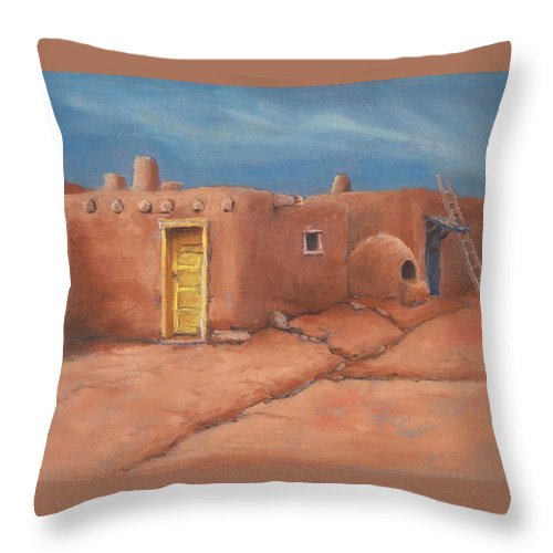 Taos Throw Pillow featuring the painting One Yellow Door by Jerry McElroy