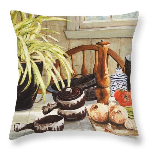Onion Throw Pillow featuring the painting Onion Soup Tonight by Richard T Pranke