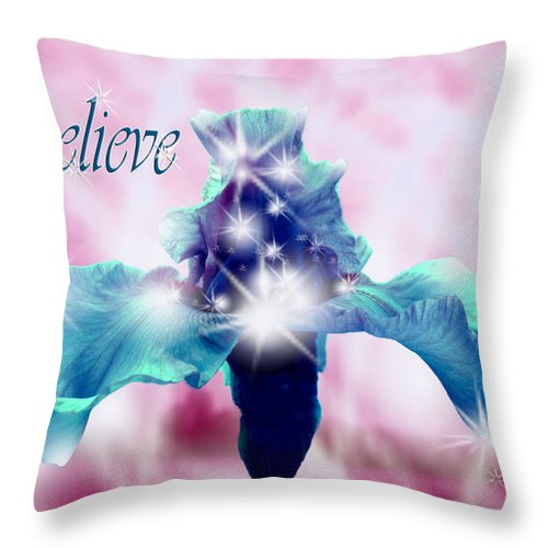 Christmas Card Throw Pillow featuring the digital art Only If...believe by Cathy Beharriell