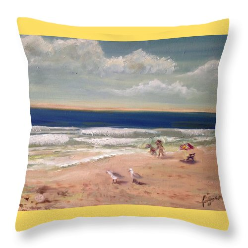 Beach Throw Pillow featuring the painting Onslow Beach by Asuncion Purnell