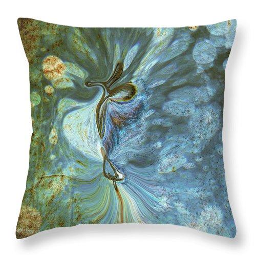 Abstract Throw Pillow featuring the digital art Onward by Linda Sannuti