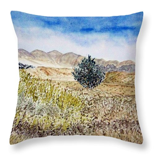 Desert Art Throw Pillow featuring the painting Onyo National Forest by Larry Wright
