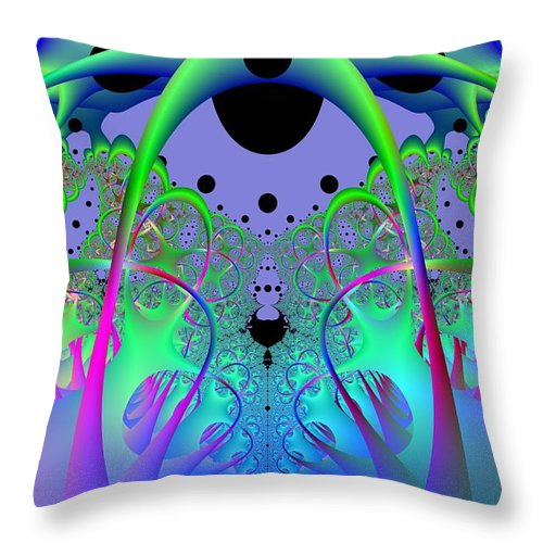 Fractal Throw Pillow featuring the digital art Oodle World by Frederic Durville