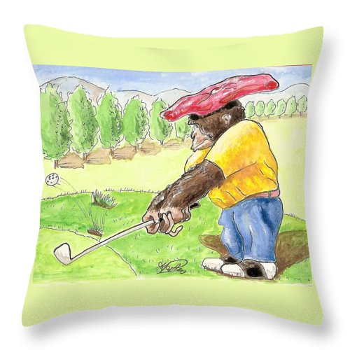 Golf Throw Pillow featuring the painting Oops by George I Perez