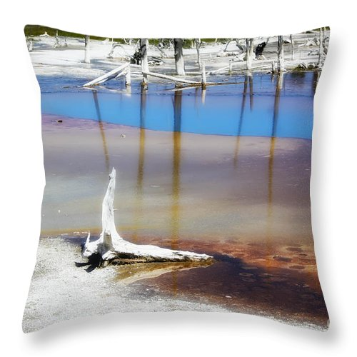 Yellowstone National Park Throw Pillow featuring the photograph Opalescent Pool Yellowstone Np by Teresa Zieba