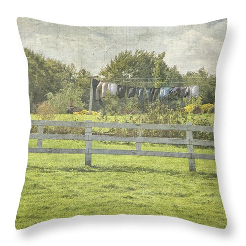 Americana Throw Pillow featuring the photograph Open Air Clothes Dryer by Betty Pauwels