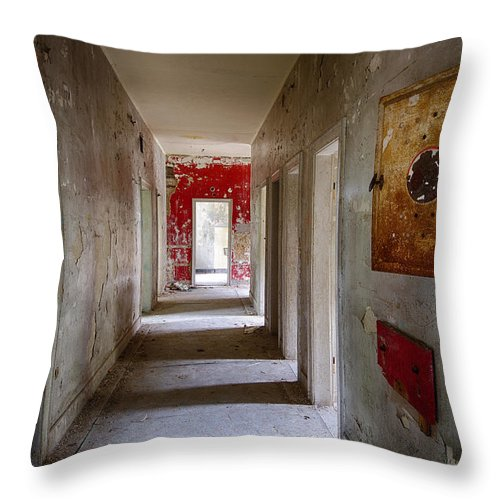 Ghost Town Throw Pillow featuring the photograph Open Doors - Abandoned Building by Dirk Ercken