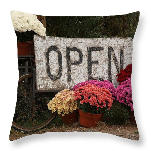 Mums Throw Pillow featuring the photograph Open Sign With Flowers Fine Art Photo by James BO Insogna