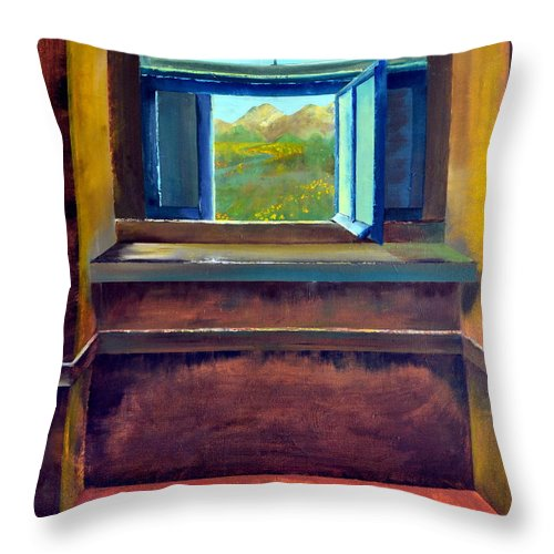 Trompe L'oeil Throw Pillow featuring the painting Open Window by Michelle Calkins