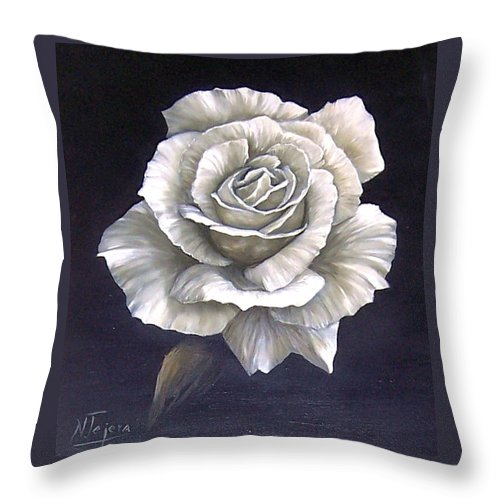 Rose Flower Throw Pillow featuring the painting Opened Rose by Natalia Tejera