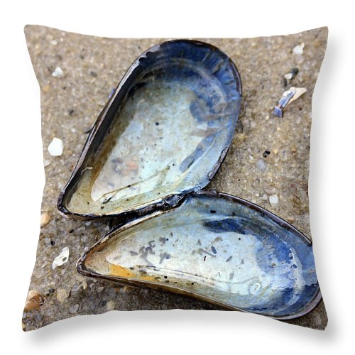 Muscle Shell Throw Pillow featuring the photograph Opened Up by Mary Haber