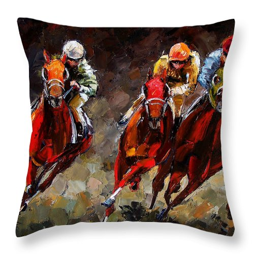 Horse Race Throw Pillow featuring the painting Opening Day by Debra Hurd