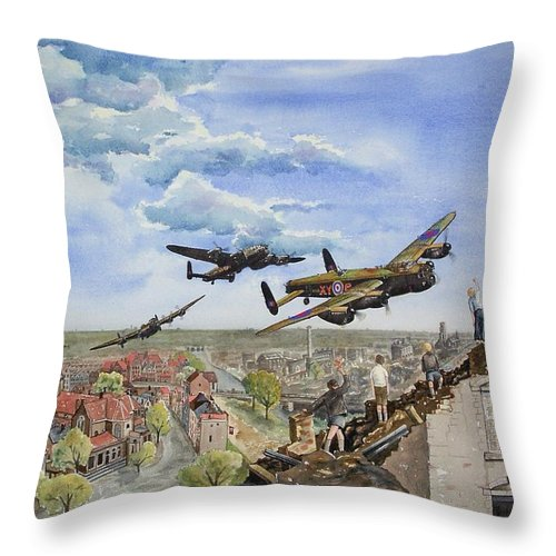 Lancaster Bomber Throw Pillow featuring the painting Operation Manna I by Gale Cochran-Smith
