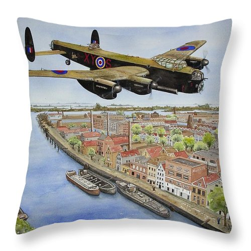 Lancaster Bomber Throw Pillow featuring the painting Operation Manna II by Gale Cochran-Smith