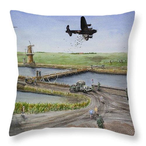Lancaster Bomber Throw Pillow featuring the painting Operation Manna IIi by Gale Cochran-Smith