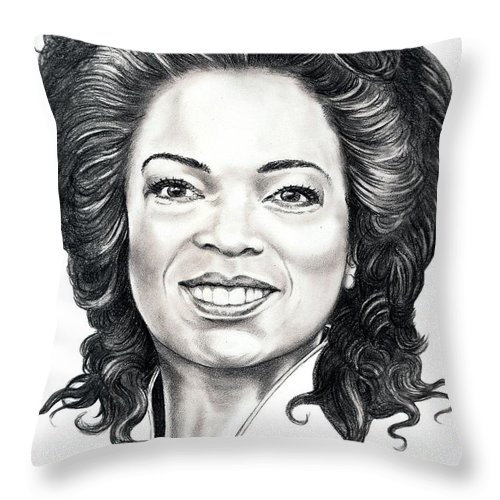Oprah Throw Pillow featuring the drawing Oprah Winfrey by Murphy Elliott
