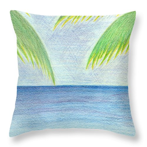 Seascape Throw Pillow featuring the drawing Optimistic Approach by Saad Hasnain