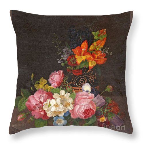 Andreas Lach Throw Pillow featuring the painting Opulent Still Life by Celestial Images