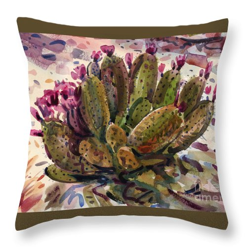 Opuntia Cactus Throw Pillow featuring the painting Opuntia Cactus by Donald Maier