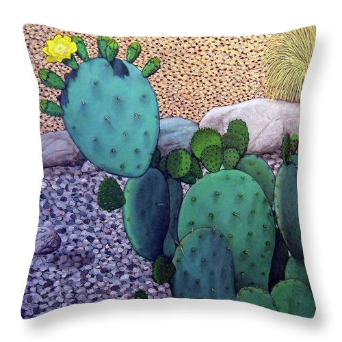 Landscape Throw Pillow featuring the painting Opuntia by Snake Jagger
