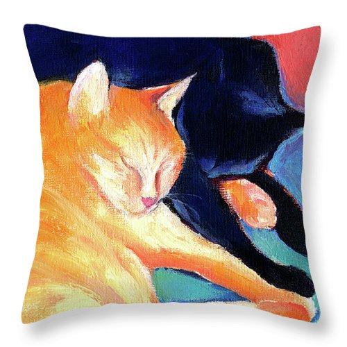 Orange Tabby Cat Painting Throw Pillow featuring the painting Orange And Black Tabby Cats Sleeping by Svetlana Novikova