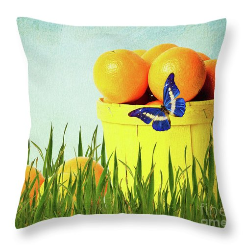 Oranges Throw Pillow featuring the photograph Orange by Angela Doelling AD DESIGN Photo and PhotoArt