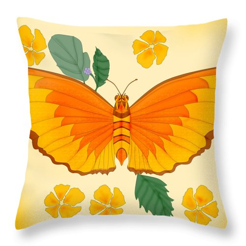 Butterfly Throw Pillow featuring the painting Orange Beauty by Anne Norskog