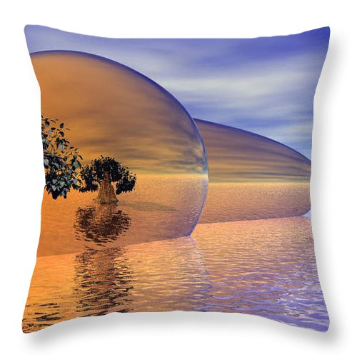 Digitalart Throw Pillow featuring the digital art Orange Blossom Special by Wayne Bonney