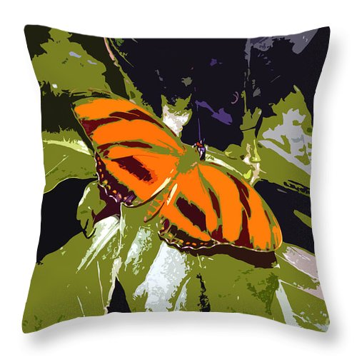 Butterfly Throw Pillow featuring the photograph Orange Butterfly by David Lee Thompson