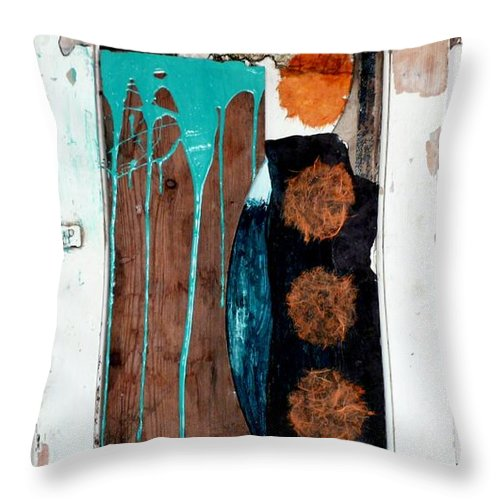 Assemblage Reclamation Slate Drips Cupboard Collage Abtract Throw Pillow featuring the mixed media Orange Circles On Slate by Jane Clatworthy