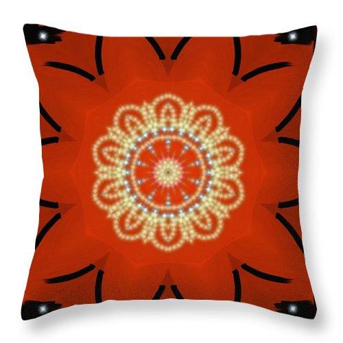 Orange Throw Pillow featuring the painting Orange Desert Flower Kaleidoscope by Roxy Riou