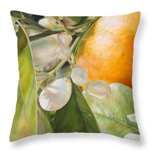 Floral Painting Throw Pillow featuring the painting Orange Fleurie by Dolemieux