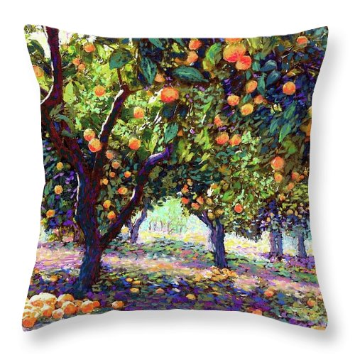 Sun Throw Pillow featuring the painting Orange Grove Of Citrus Fruit Trees by Jane Small