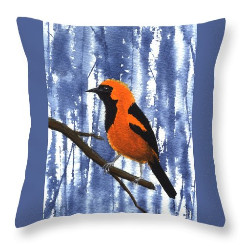 Bird Throw Pillow featuring the painting Orange-headed Oriole by Lynn Quinn