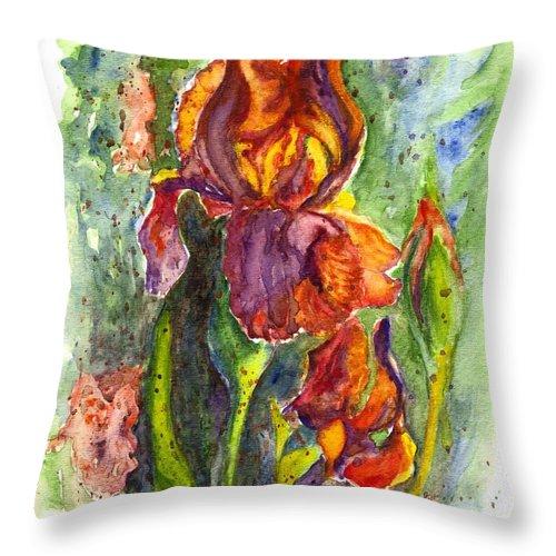 Floral Throw Pillow featuring the painting Orange Ice by Carol Wisniewski