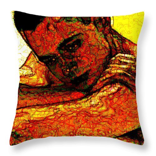 Man Throw Pillow featuring the digital art Orange Man by Stephen Lucas