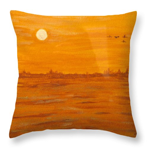 Orange Throw Pillow featuring the painting Orange Ocean by Ian MacDonald