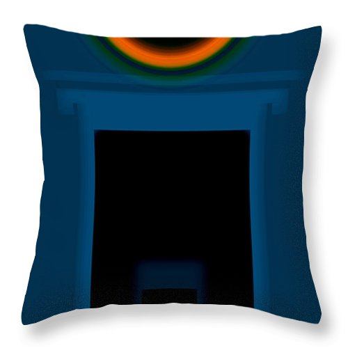 Palladian Throw Pillow featuring the painting Orange On Pale Blue by Charles Stuart