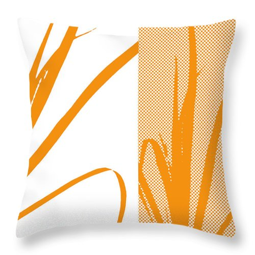 Abstract Throw Pillow featuring the digital art Orange Palm by Ruth Palmer