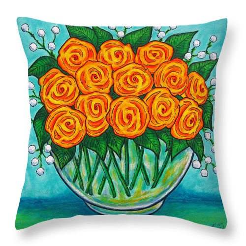 Orange Throw Pillow featuring the painting Orange Passion by Lisa Lorenz