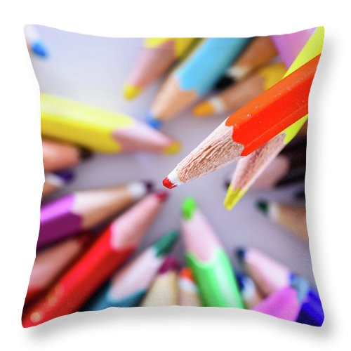 Background Throw Pillow featuring the photograph Orange Pastel by Nicola Simeoni