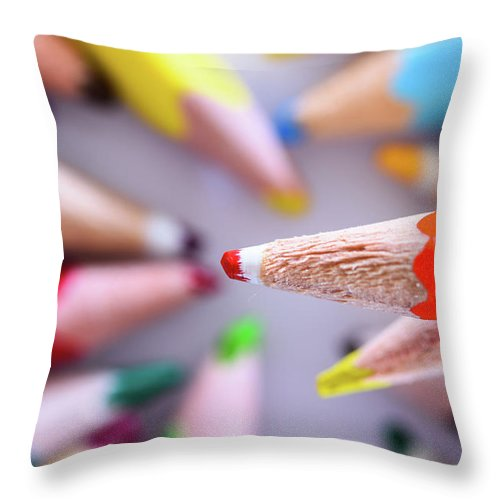 Background Throw Pillow featuring the photograph Orange Pencil by Nicola Simeoni