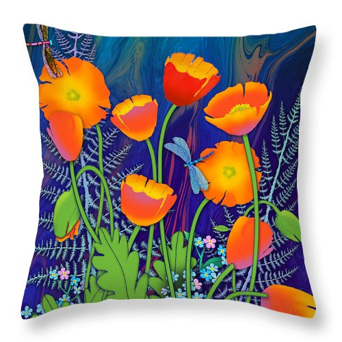 Orange Poppies And Forget Me Nots Throw Pillow featuring the painting Orange Poppies And Forget Me Nots by Teresa Ascone