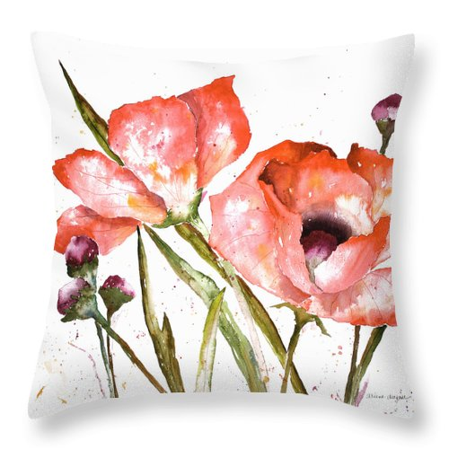 Poppy Throw Pillow featuring the painting Orange Poppies by Arline Wagner