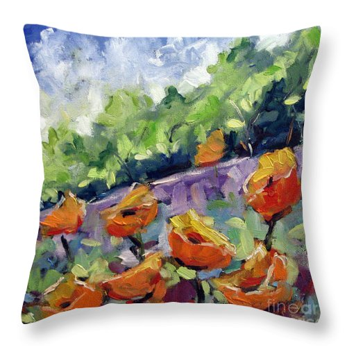 Art Throw Pillow featuring the painting Orange Poppies by Richard T Pranke