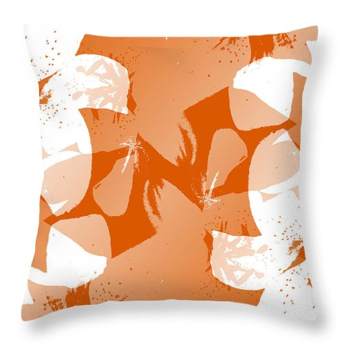 Botanical Throw Pillow featuring the digital art Orange Poster Lilies by Ruth Palmer