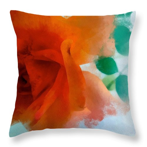 Rose Throw Pillow featuring the digital art Orange Rose by Patricia Strand