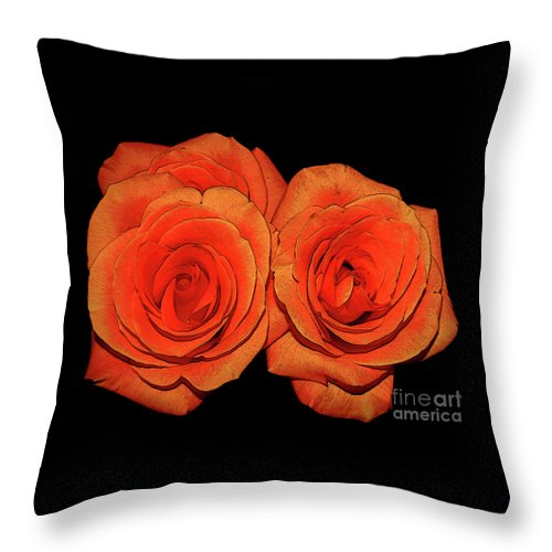 Roses Throw Pillow featuring the photograph Orange Roses With Hot Wax Effects by Rose Santuci-Sofranko