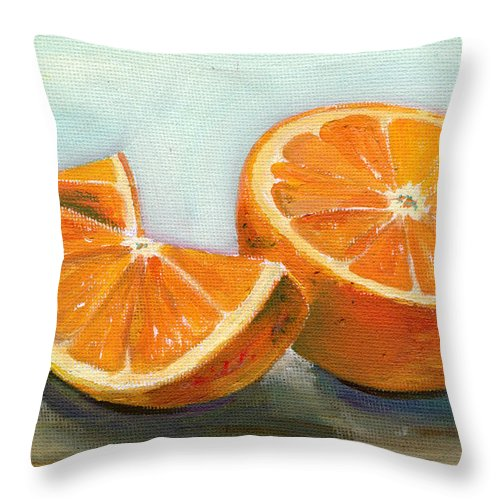 Oil Throw Pillow featuring the painting Orange by Sarah Lynch